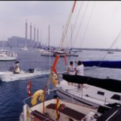 The PCYC sail in to the new site.  This is before docks in 1988.